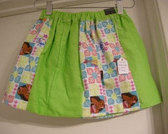 Handmade reversible Moana skirt with green accents, size US 4T girls toddler skirt, Birthday Party Theme ready to ship