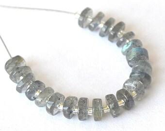 Set of 21 beads Labradorite rondelles 4 - 4.5 mm