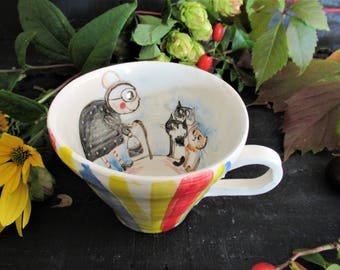 "Cup with handle ""The Cat in My Neighborhood"""