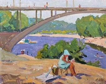 RIVER BEACH, Vintage Original Oil Painting by Soviet Ukrainian artist E.Ovsyannikova 1970 Genre scenes, Riverscape, Kiev, Hidropark, Bridge