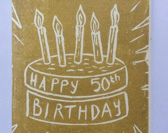 Hand carved, hand pulled linocut print 50th birthday card