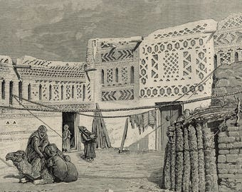 Courtyard of a house in the Oasis of Hamma, Tunisia 1886 - Old Antique Vintage Engraving Art Print - House, Goat, Camel, Rope, Mashrabiyeh