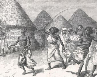 Somalia 1885, Mom Yousouf chases the crowd, Old Antique Vintage Engraving Art Print, Woman, Man, Village, House, Roof, Thatch, Whip, Running