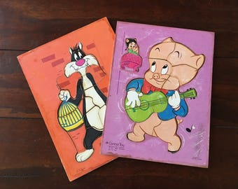 Looney Tunes Porky Pig Troubador and Sylvester Cageman Puzzles Connor Toy