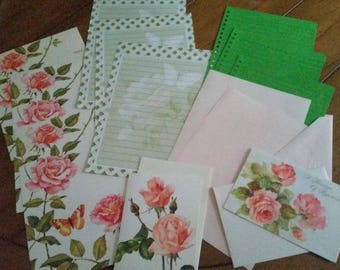 Vintage Stationery Collection ~ Pink and Green Rose Journal Collection