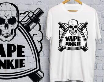 Vape Junkie T-shirt - vape, shirt, tee, vaping, cigarette, e cigarette, smoking, weed, cannabis, marijuana, skull, vaporize,
