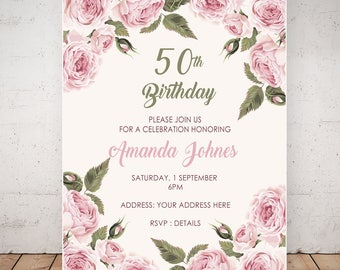 50th Birthday Invitations. Floral Invitations. Birthday Invitations for Women. Any Age Invitations. Custom Birthday Invitation.