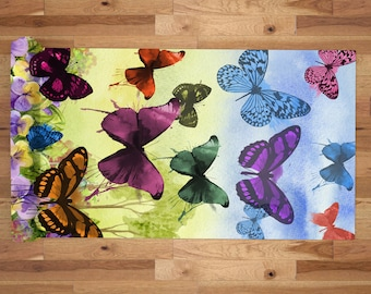 Yoga Mat with Carry Bag - Pilates Mat - Yoga gift for him/her - Thick Yoga Mat - Exercise Mat - Butterflies Watercolor