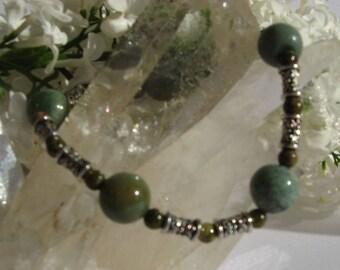 Semiprecious multicolor Jasper and unakite stone bracelet
