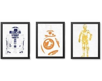 R2D2, BB8 & C3PO Star Wars Wall Art set, Posters, Digital Image.