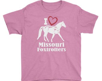 I Love Missouri Foxtrotters Youth Short Sleeve T-Shirt