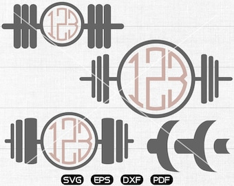 Fitness svg Files, Dumbbell Monogram Frame, Workout Clipart, cricut, cameo, silhouette cut files commercial & personal use