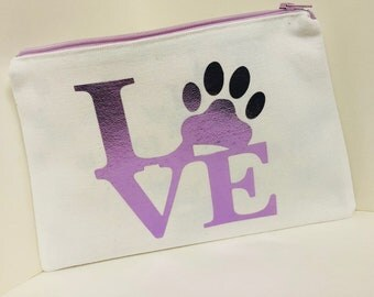 I Love Dogs Paw Print Pouch!