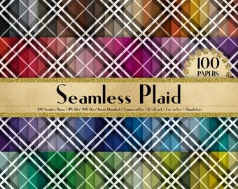 """100 Seamless Plaid Pattern Papers in 12"""" x 12"""", 300 Dpi Planner Paper, Commercial Use, Scrapbook Paper,Rainbow Paper, 100 Plaid Papers"""