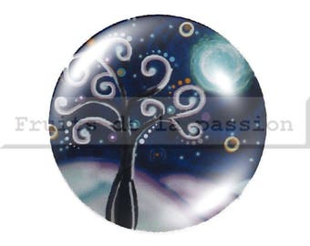 1 cabochon 30mm, nature, trees, blue, round glass