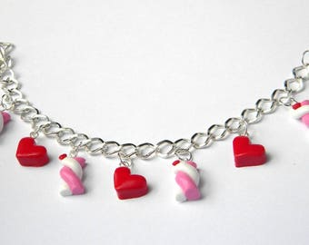 Handmade Marshmallow and hearts bracelet