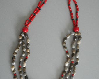 Exotic seeds of Job two-tone necklace