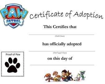 Paw Patrol Adoption Certificate