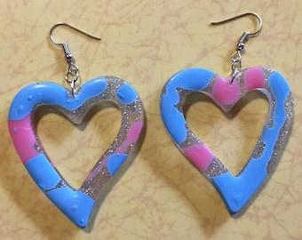 Love heart resin glitter hoop earrings
