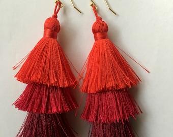 Red Tassel Earrings