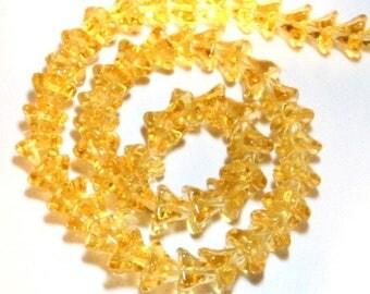 55 x 6x9mm glass - POI - yellow Bell flower bead 0094.3.XL
