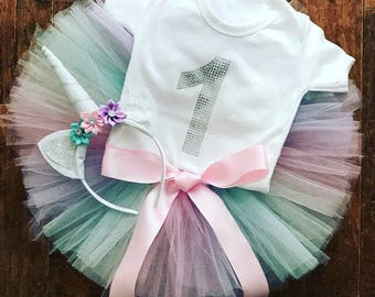 Girls 1st Birthday Outfit, unicorm 1st birthday outfit, Girls cakesmash outfit, unicorn tutu, unicorn headband, crystal onesie, sparkle