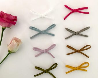 Pair of faux suede cord bow hair clip baby headband
