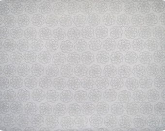 White fabric with grey design, 110 cm wide