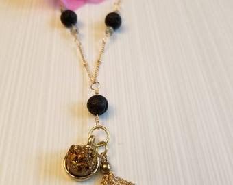 Gold Druzy Quartz Essential Oil Diffuser Necklace
