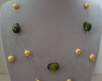 Original women necklace, green and yellow
