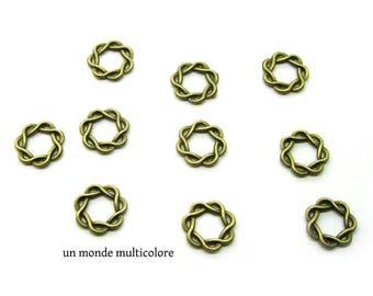 10 connectors, circles closed bronze spiral striped 15 mm