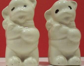 Vintage Ceramic Bear Salt And Pepper Shakers