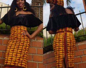 feko - Ankara wax high waist pencil skirt with assorted headwrap