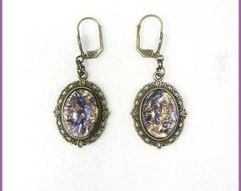 """Amethyst purple fire opal"" earrings"
