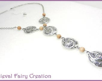 """Viking necklace silver and wood """"Lagertha"""""""