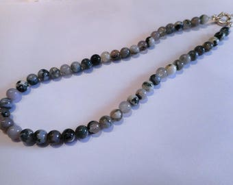 Necklace in 925 sterling silver and MOSS Agate 8 MM