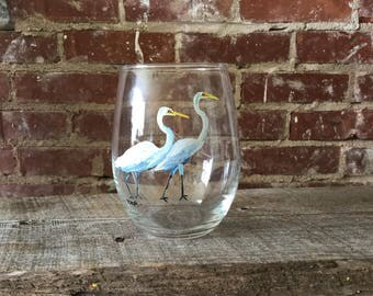 Great Egrets- hand painted stemless wine glass