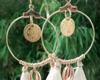 Hoop earrings white tassel and shell