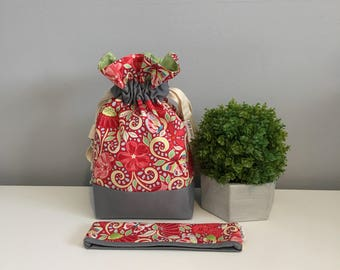 Small Drawstring Project Bag - Flowers and Butterflies - Red, Pink and green