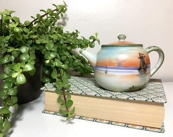 Vintage Handpainted Ceramic Ships in Sunset Teapot