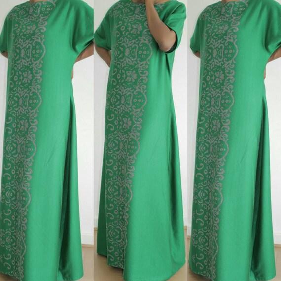 Green Kimono Jersey Kaftan Dress