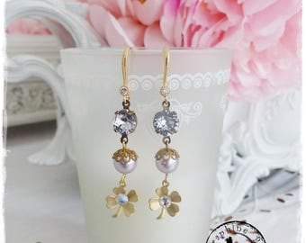 Retro-vintage Crystal and clover earrings