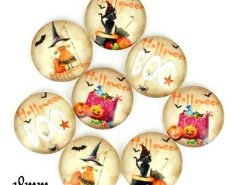 Set of 8 cabochons 18mm glass, Halloween, ZC782