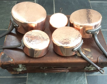 5 French Copper Pans Vintage Villedieu Cast Iron Handles Hanging Display