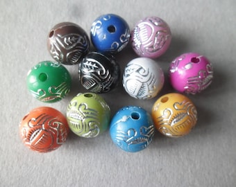 x 10 mixed patterned silver acrylic 11 mm round beads