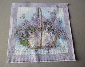 x 1 napkin basket filled with your purple flower 33 x 33 cm