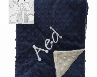 Navy and Silver Personalized Minky Blanket, Custom Minky Blanket, Personalized Baby Blanket, Baby Boy Minky Blanket, Baby Gift