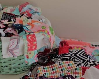 Scrap bag, Patchwork scraps, Fabric scraps, Mixed fabric scraps, Grab bag, Quilt scraps
