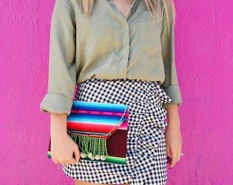 body bag / sac de messager / sac / Sac cabas en lin, lin cartable, - toile  bag Aguayo Pom Pom Uyuni Clutch