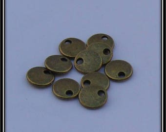Set of 10 round dishes/sequins metal 8 x 1.5 mm antique bronze